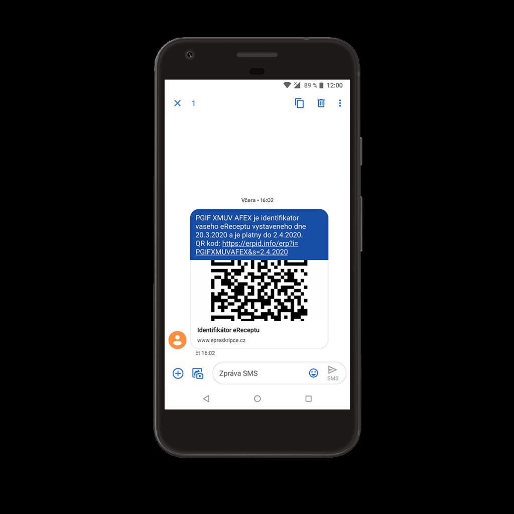 Proces přidání eReceptu do aplikace - SMS eRecept