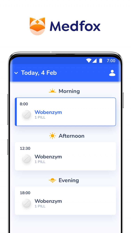 Medfox - Homescreen - Pill reminder and medication management app