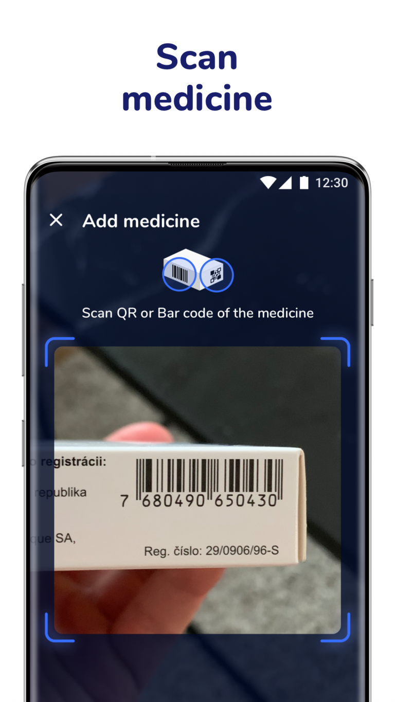 Scan medicine in pill reminder from Medfox