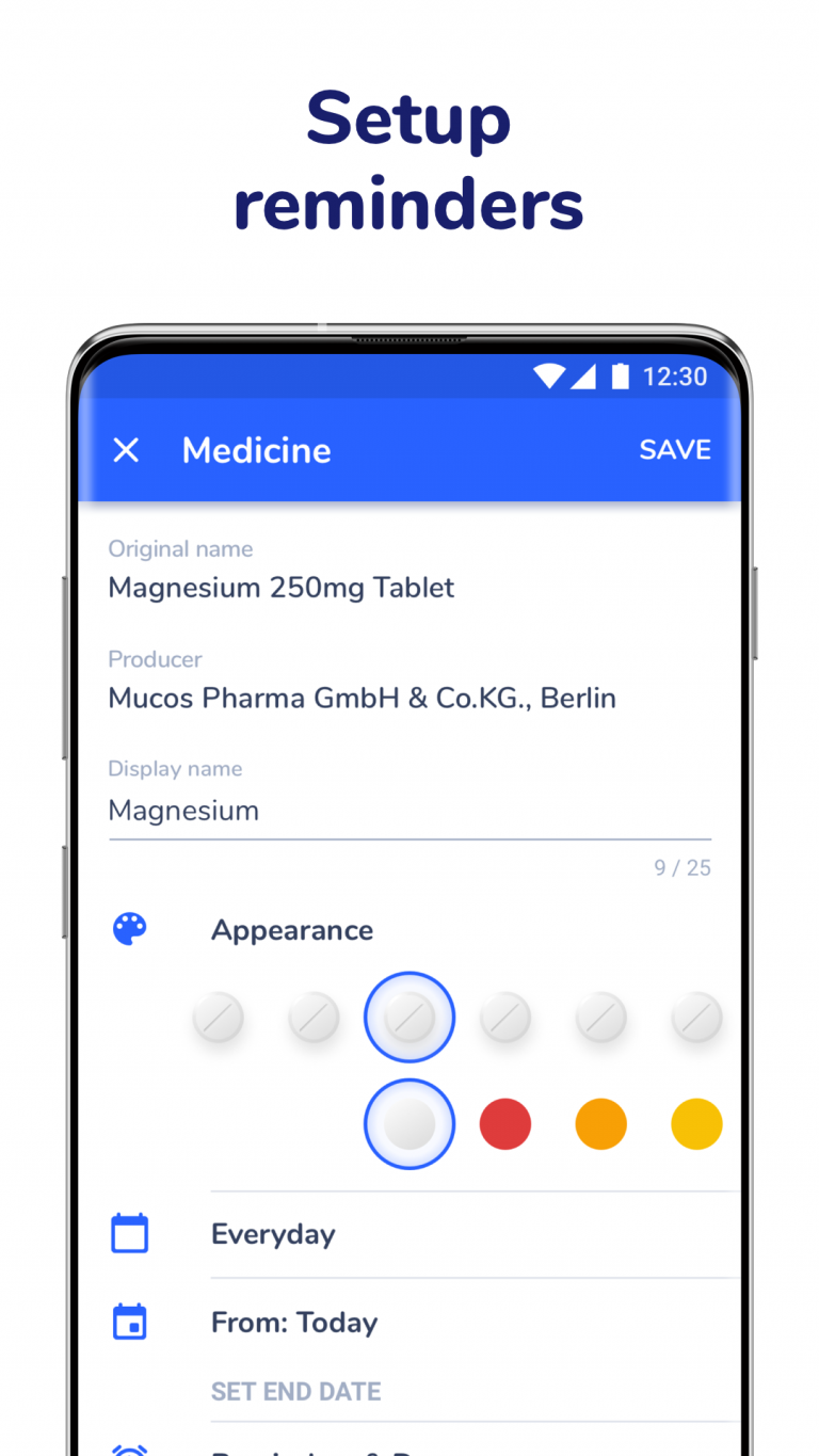 Setup of pill reminder in Medfox