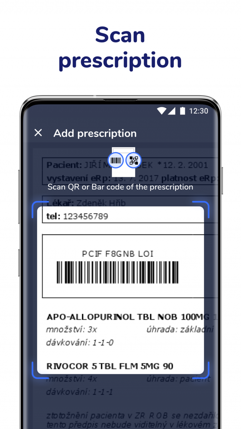 Scan electronic prescription codes in Medfox app