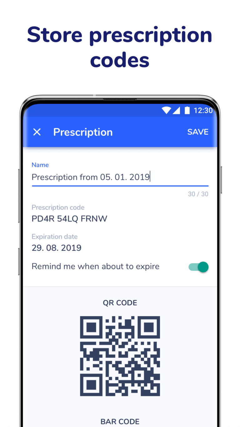 Store electronic prescription codes in Medfox Digital