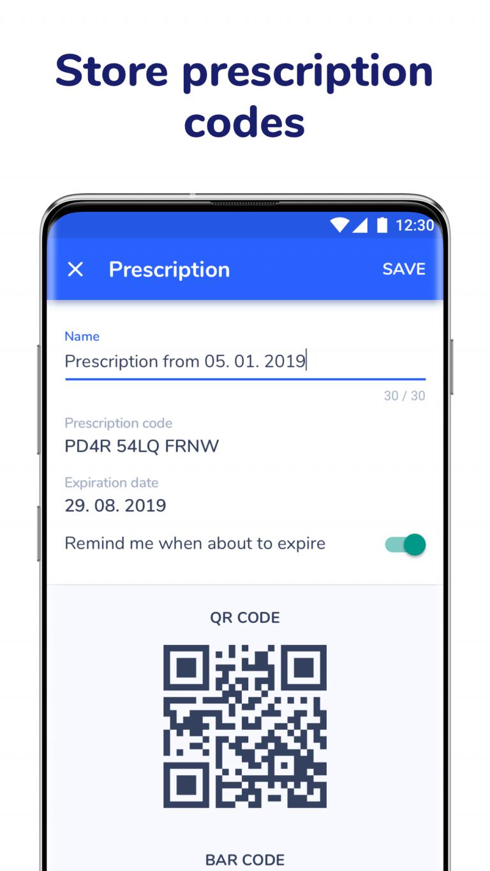Store electronic prescription codes in Medfox Digital