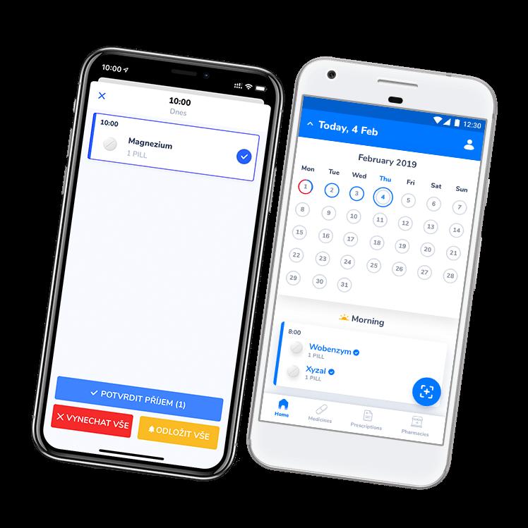 Připomínky léků Medfox - iPhone a Android mobil vedle sebe se spuštěnou aplikací na připomínky a záznam léků