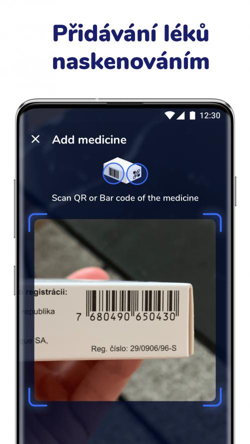 Přidávání léků pomocí skenu do aplikace Medfox