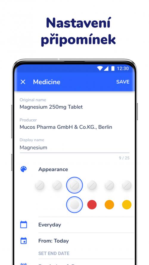Nastavení připomínky léků v aplikaci Medfox